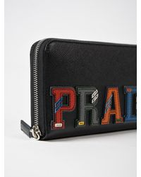 Prada - Black Saffiano Character Zip Around Wallet - Lyst
