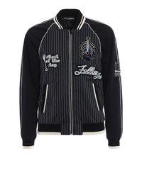 Dolce & Gabbana | Black Striped Bomber Patch for Men | Lyst