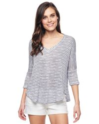 Splendid - Gray White Slub Short Sleeve Pullover - Lyst