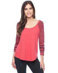 Splendid - Pink Thermal Venice Stripe Raglan - Lyst