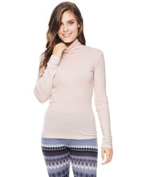 Splendid - Pink Slim Turtleneck Tee - Lyst