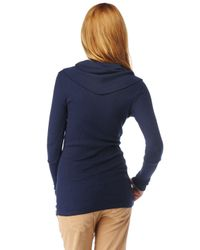 Splendid - Blue Thermal Cowl Neck Top - Lyst