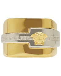 Versace - Metallic Gold & Silver Large Medusa Ring for Men - Lyst