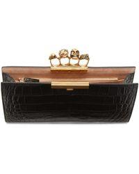 Alexander McQueen - Black Croc Gold Knuckle Box Clutch - Lyst