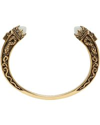 Alexander McQueen | Metallic Gold Twin Skull & Snake Bracelet | Lyst