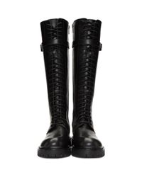 Ann Demeulemeester - Black Tall Lace-up Boots - Lyst