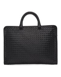 Bottega Veneta - Black Classic Intrecciato Briefcase for Men - Lyst