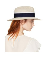 Maison Michel - Natural Beige And Navy Straw Henrietta Fedora - Lyst