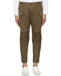 DSquared² - Brown Khaki Cotton Cargo Trousers for Men - Lyst
