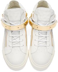 Giuseppe Zanotti - White Leather Mid-top London Sneakers - Lyst