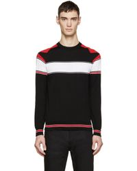 Givenchy - Black Tricolor Knit Star Sweater for Men - Lyst