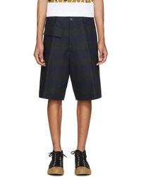 Marni - Blue Navy & Black Striped Shorts for Men - Lyst