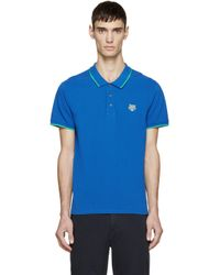 KENZO - Blue Tiger Crest Polo for Men - Lyst