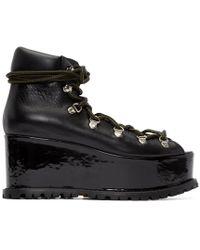 Sacai - Black Leather Platform Boots - Lyst