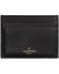 Valentino - Black Leather Stone & Rockstud Card Holder - Lyst
