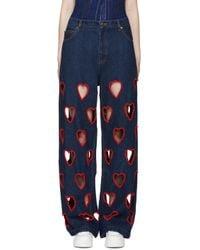 Ashish - Blue Indigo Cut-out Heart Jeans - Lyst