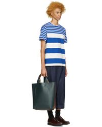 Kidill - White & Blue Striped T-shirt for Men - Lyst