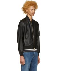 Burberry Brit - Black Leather Raleigh Bomber Jacket for Men - Lyst