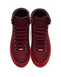 Jimmy Choo - Red Argyle High-top Sneakers for Men - Lyst