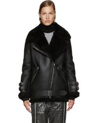 Acne | Black Oversized Shearling Moto Jacket | Lyst