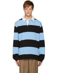 T By Alexander Wang - Blue & Black Striped Polo for Men - Lyst