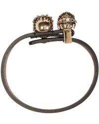 Alexander McQueen - Black King & Queen Skull Bracelet - Lyst