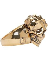 Alexander McQueen - Metallic Gold Brass Skull Ring for Men - Lyst