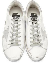 Golden Goose Deluxe Brand - Green White Sparkle Superstar Sneakers for Men - Lyst