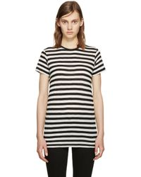 Proenza Schouler - Black & Ecru Striped T-shirt - Lyst