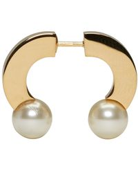Chloé | Gold 'darcey' Double Swarovski Pearl Horseshoe Single Earring | Lyst