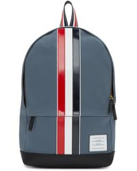 Thom Browne - Gray Grey & Tricolor Striped Backpack for Men - Lyst