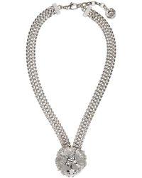 Versus - Metallic Silver Lion Necklace - Lyst