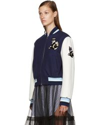 MSGM - Blue Navy Cat Bomber Jacket - Lyst