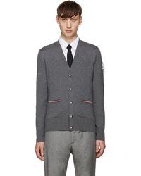 Moncler Gamme Bleu | Gray Grey Double Pocket Cardigan for Men | Lyst