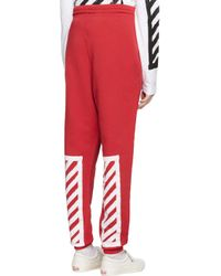 Off-White c/o Virgil Abloh - Black Red Brushed Diagonals Lounge Pants - Lyst