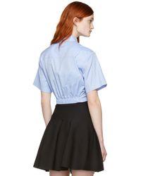 T By Alexander Wang - Blue Twist Short Sleeve Cropped Shirt - Lyst