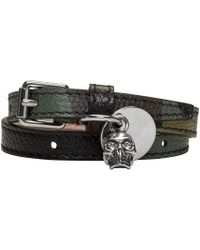 Alexander McQueen | Green Camo Skull Charm Double Wrap Bracelet for Men | Lyst