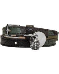 Alexander McQueen - Green Camo Skull Charm Double Wrap Bracelet for Men - Lyst