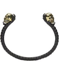 Alexander McQueen   Black & Gold Twin Skull Claw Cuff   Lyst