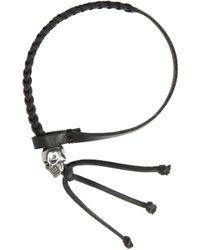 Alexander McQueen - Black Braided Skull Bracelet for Men - Lyst