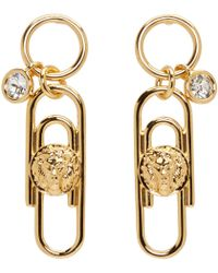 Versus | Metallic Gold Safety Pin Earrings | Lyst