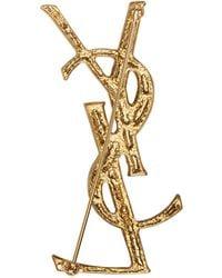 Saint Laurent - Metallic Gold Crocodile Monogram Opyum Brooch - Lyst