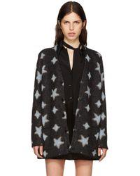 Saint Laurent | Black Oversized Star Cardigan | Lyst
