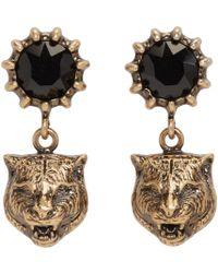 Gucci   Metallic Gold Feline Earrings   Lyst