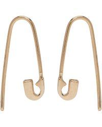 Lauren Klassen | Metallic Gold Tiny Safety Pin Hook Earrings | Lyst