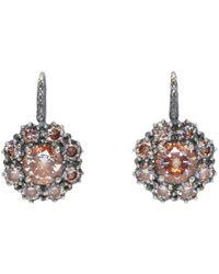 Bottega Veneta - Metallic Silver Flowers Zircon Earrings - Lyst