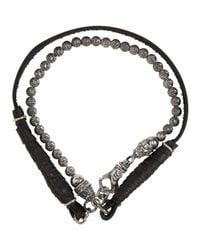 Emanuele Bicocchi - Metallic Silver & Black Beaded Leather Bracelet for Men - Lyst