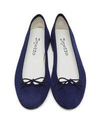 Repetto | Blue Suede Cendrillon Ballerina Flats | Lyst