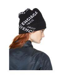 Balenciaga - Black Logo Beanie - Lyst