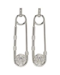 Versus  - Metallic Silver Safety Pin Lion Medallion Earrings - Lyst